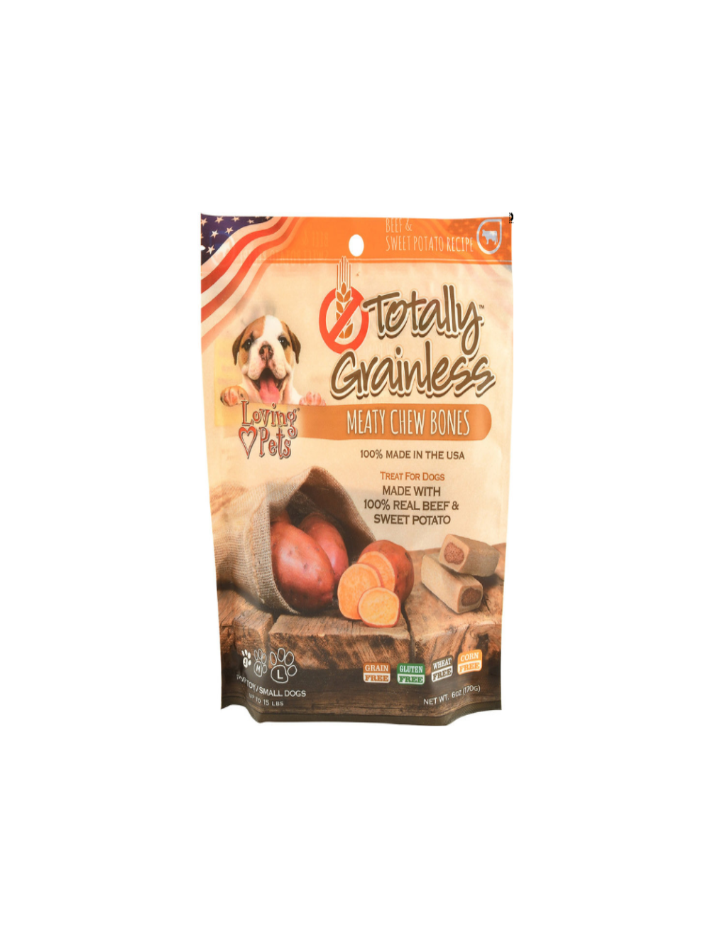 Totally Grainless Snack Para Perros Hueso Carne y Papa Dulce Medium 170g