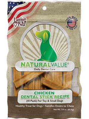 NATURAL VALUE Chicken Flavor Dental Sticks X 85 GR
