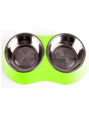 Comedero Doble Pet Twin Bowl Verde Small - Ciudaddemascotas.com