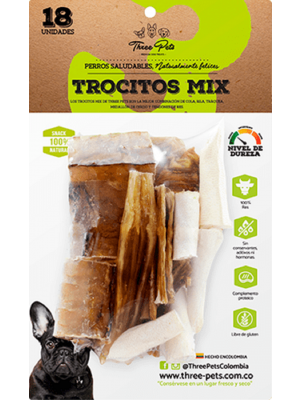 Three Pets -Trocitos Mix 120 gr x 18 Und-Ciudaddemascotas.com